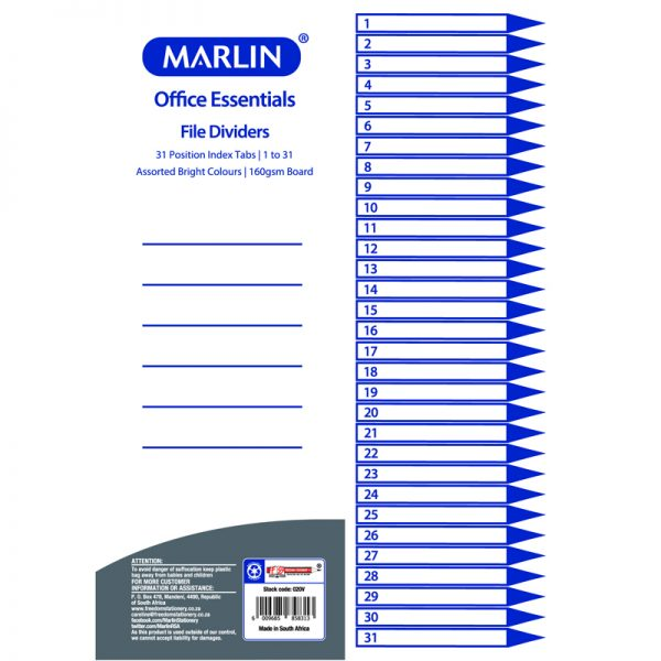 File Dividers / Indexes - 160Gsm Bright Board